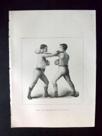 Badminton Library 1893 Antique Boxing Print. Right-Hand Cross-Counter